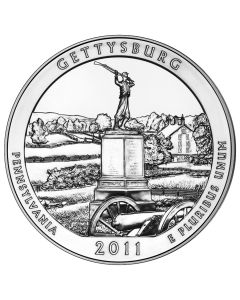 2011 5 oz Gettysburg America The Beautiful Silver Coin