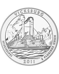 2011 Vicksburg 5 oz Burnished Silver Coin - America The Beautiful