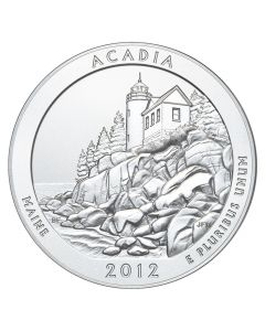 2012 Acadia 5 oz Burnished Silver Coin - America The Beautiful