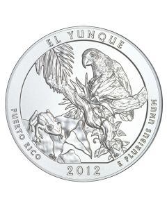 2012 El Yunque 5 oz Burnished Silver Coin - America The Beautiful