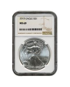 2013 NGC MS-69 American Silver Eagle Coin (Brown Label)