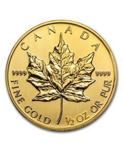 1/2 oz Canadian Gold Maple Leaf Coin - Random Year