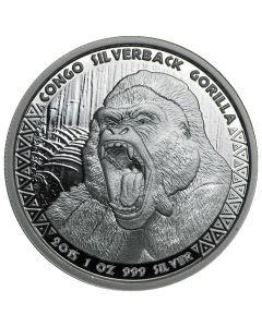 2015 Congo Silverback Gorilla Silver Coin 1 oz