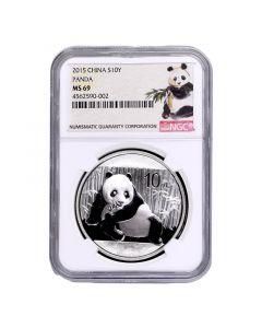 2015 NGC MS-69 Chinese Silver Panda - Ink Brush Label