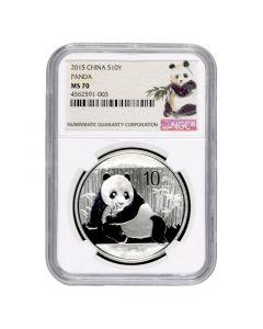 2015 NGC MS-70 Chinese Silver Panda - Ink Brush Label