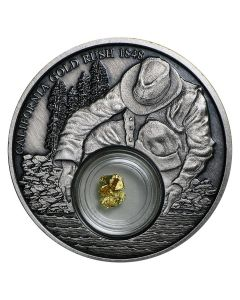 "2016 Niue California Gold Rush Silver Coin - Antique Finish - 24k Gold ""Nugget"""
