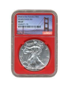 2016 (S) NGC MS-69 American Silver Eagle Coin - San Francisco Bridge Label