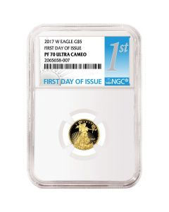 2017-W 1/10 oz Proof Gold American Eagle NGC First Day Of Issue PF-70 Ultra Cameo
