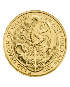 2017 1 oz Queen's Beasts Gold Coin - The Dragon of Wales - Royal British Mint