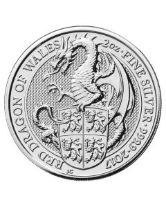 2017 2 oz Silver Queen's Beasts Dragon of Wales - Royal British Mint