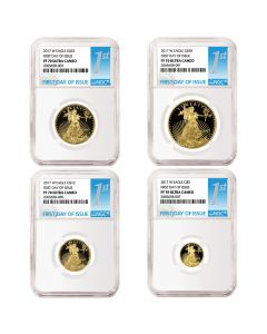 2017-W Proof Gold American Eagle NGC First Day Of Issue PF-70 Ultra Cameo 4-Coin Set