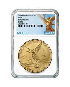 2018 Mexican Gold Libertad Coin 1 oz NGC MS-69 Early Release