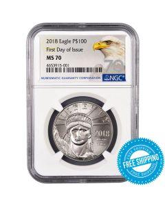 2018 NGC FDOI MS-70 Platinum American Eagle Coin