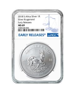 2018 South African Silver Krugerrand Coin 1 oz NGC MS-69 Early Release