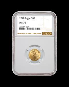 2018 1/10 oz NGC MS-70 Gold American Eagle