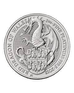 2018 1 oz Queen's Beast Dragon of Wales Platinum Coin