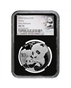 2019 30 Gram Chinese Silver Panda NGC MS-70 Early Releases Black Core