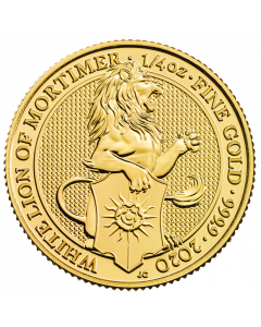 2020 1/4 oz Queen's Beasts White Lion of Mortimer Gold Coin