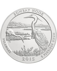 2015 Bombay Hook 5 oz Burnished Silver Coin - America The Beautiful