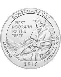2016 Cumberland Gap 5 oz Burnished Silver Coin - America The Beautiful