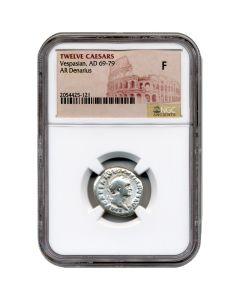 Twelve Caesars Vespasian AR Denarius AD 69-79 - NGC Fine
