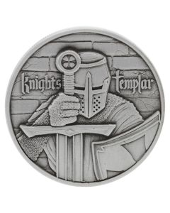 The Knights Templar - 2 oz Ultra High Relief Silver Round - Antiqued Finish