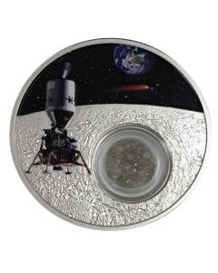 2019 1 oz Silver Moon Landing Proof Coin (Diamond Inserts)