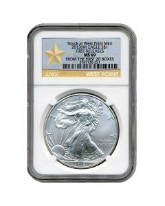 2013(W) NGC MS-69 First Releases American Silver Eagle Coin (West Point Label)