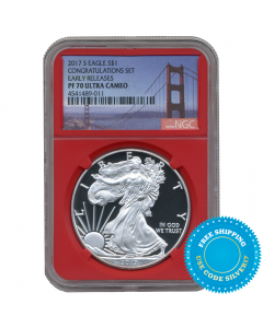 2017-S Silver Eagle Proof - PF-70 NGC Early Releases San Francisco Bridge Label