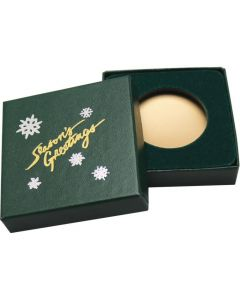 Season's Greetings Green Display Box - 39 mm Round or Coin