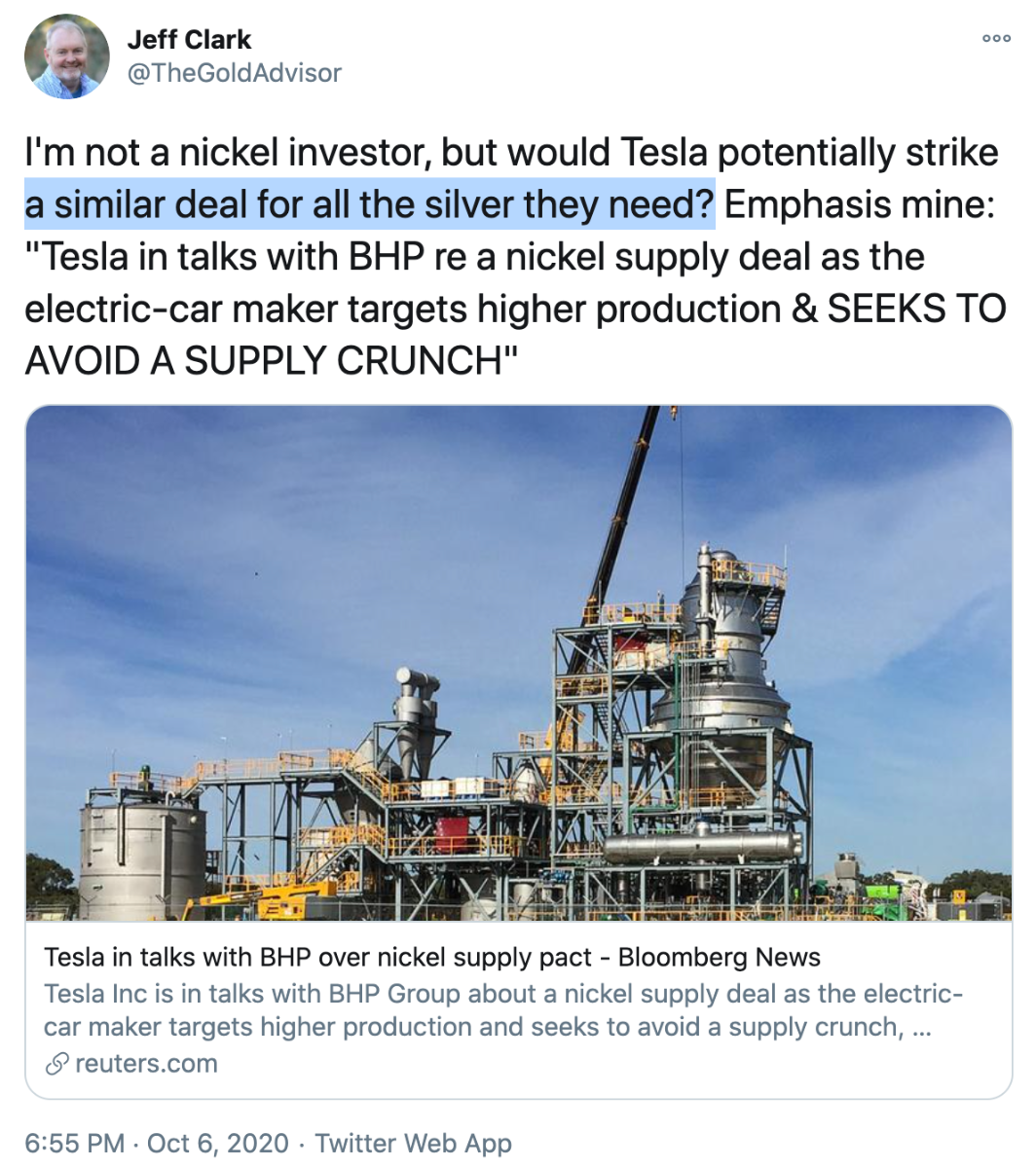 IMAGE - Tesla Silver Demand may require buying directly from miners SD Bullion