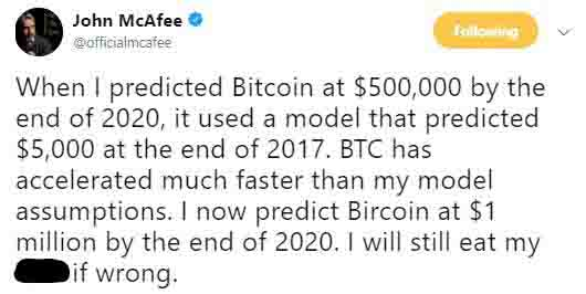 John McAfee Bitcoin Price Eat My Tweet