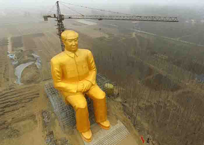 Giant Goldn Statue of China's Mao Dismantled