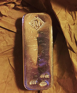 100 oz Johnson Matthey Silver Bullion Bar