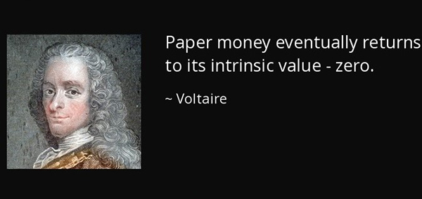 Voltaire Paper Money Returns to Zero Quote