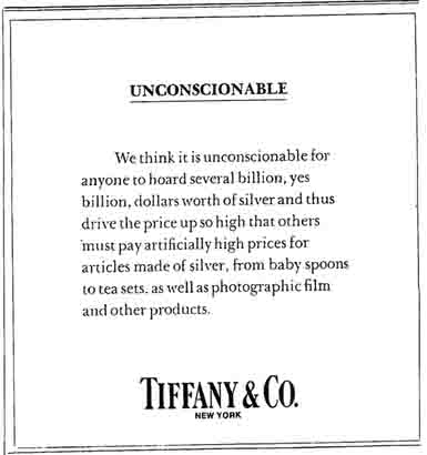Tiffany & Co Ad Against The Hunt Brothers