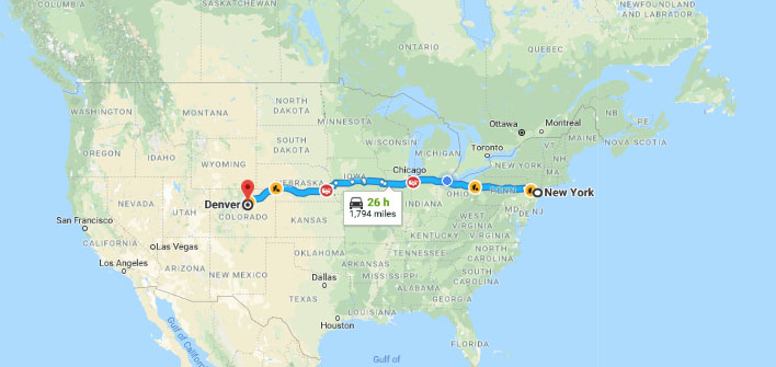 Map of New York City to Denver in Miles