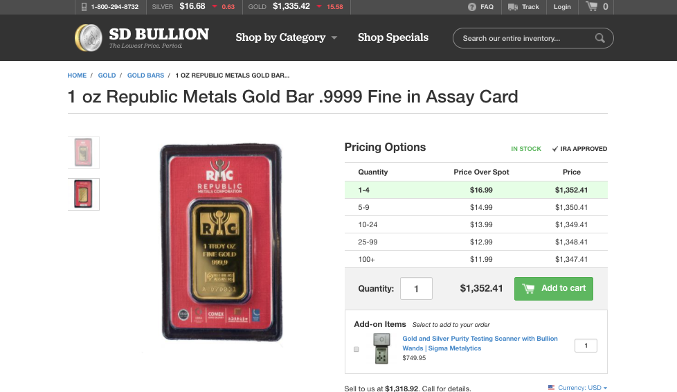 1 oz Gold Bar price tiers SD Bullion SDBullion.com How to buy gold wholesale How to buy gold at wholesale prices