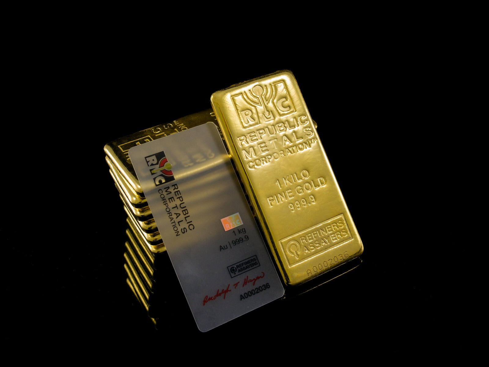 Gold assay card Gold Bullion Bar assay Republic Metals SD Bullion SDBullion.com