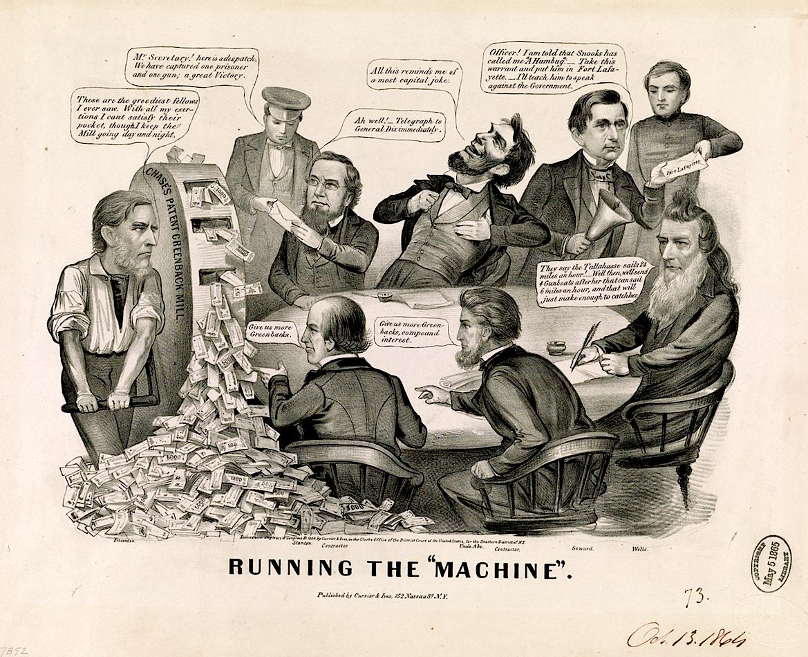 Greenback vs Gold dollar Coin values SD Bullion Running the Machine Cartoon SDBullion.com
