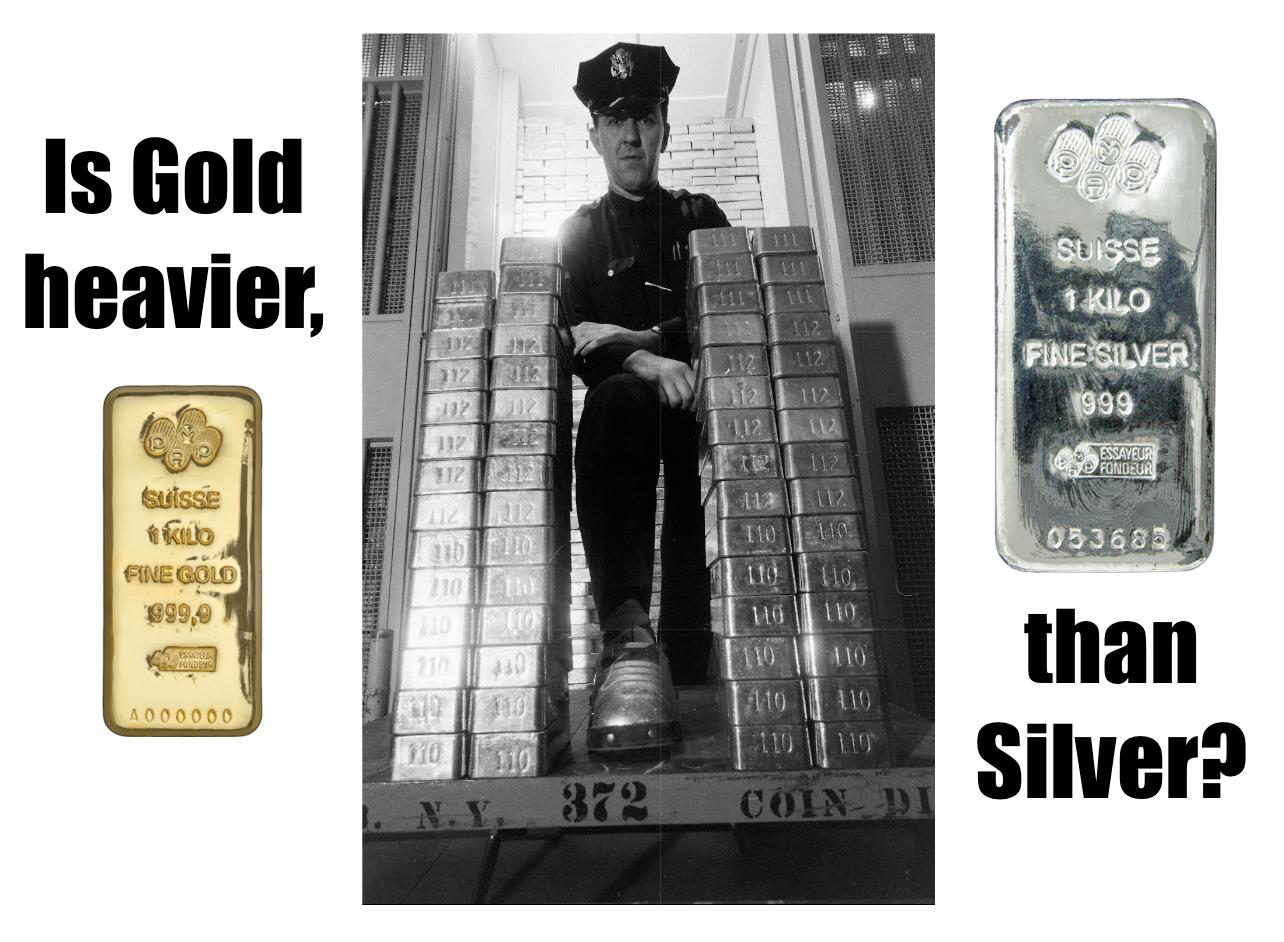 Is Silver lighter than Gold SD Bullion SDBullion.com