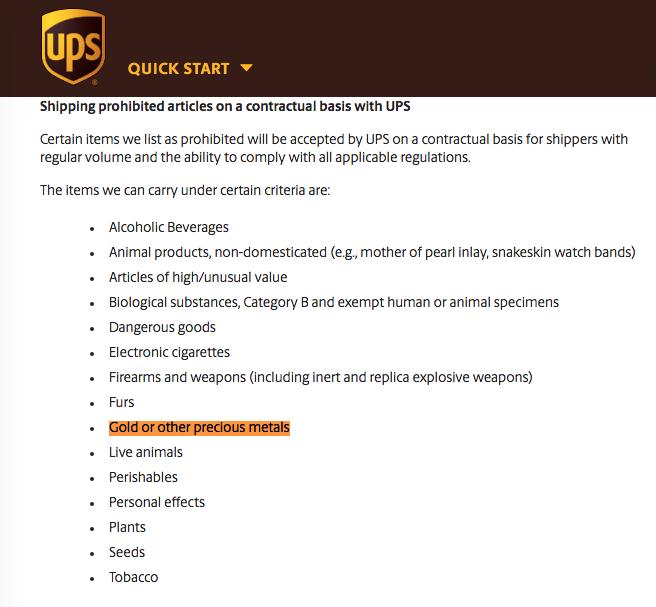 does UPS ship gold UPS gold shipping policy SD Bullion SDBullion.com