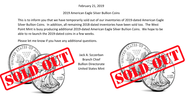 US Mint Sold Out Silver Eagle Coins 2019