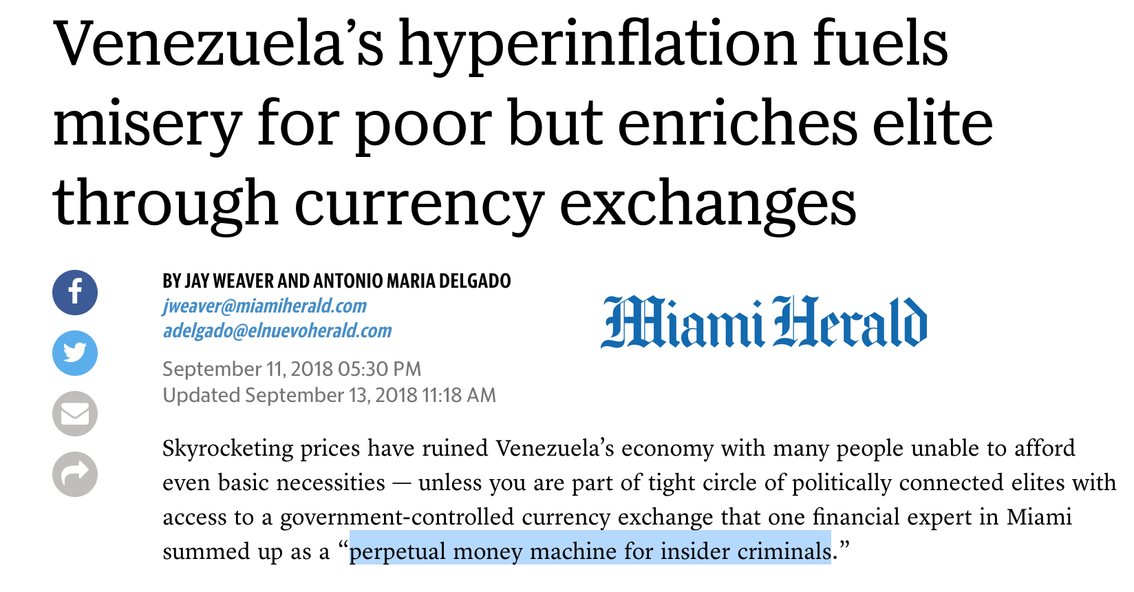 Venezuela Fiat Currency Enrichment Program official vs black market currency exchange Miami Herald SD Bullion SDBullion.com