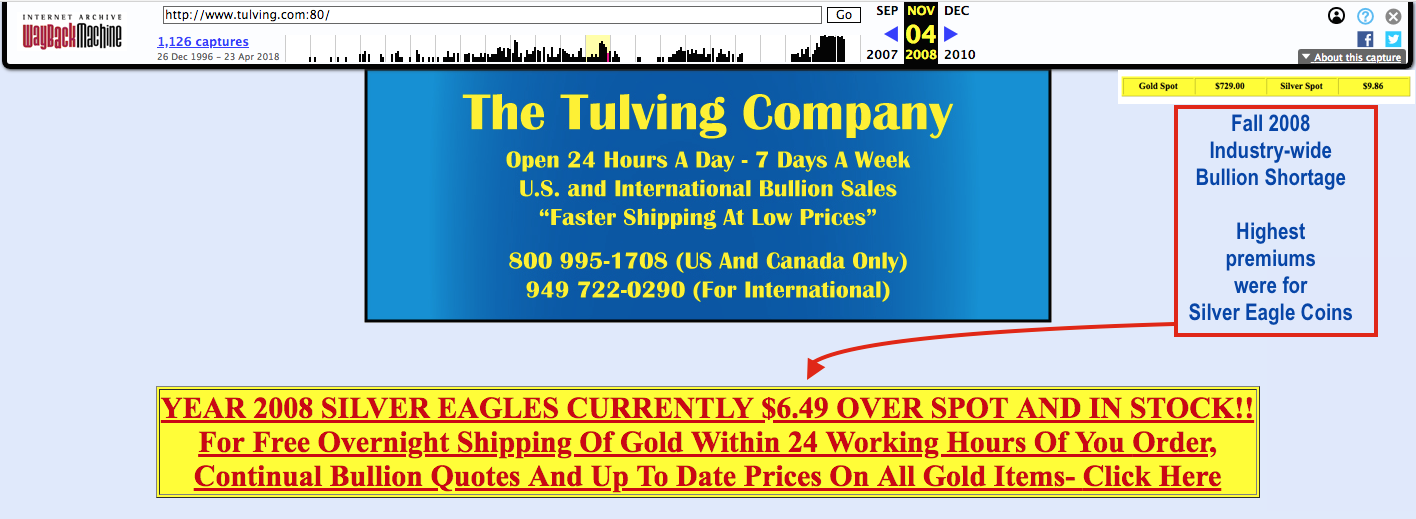Why Are Silver Eagle Coins Prices so high? Fall 2008 SD Bullion SDBullion.com research