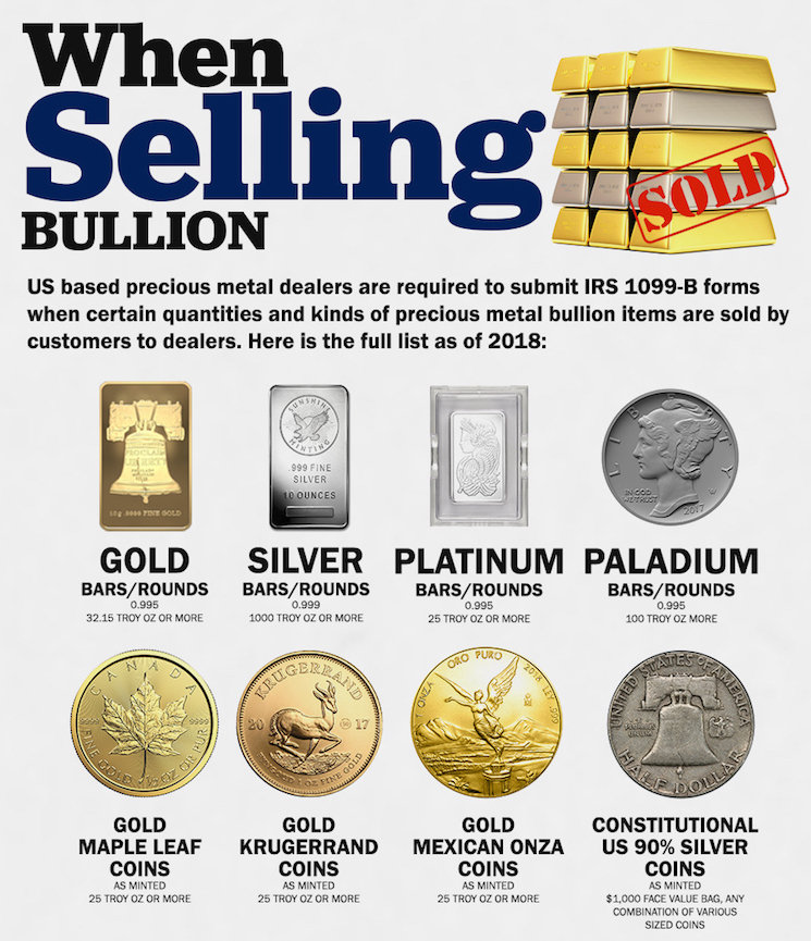 Gold Silver Bullion Sale Reporting When Selling to Bullion Dealers