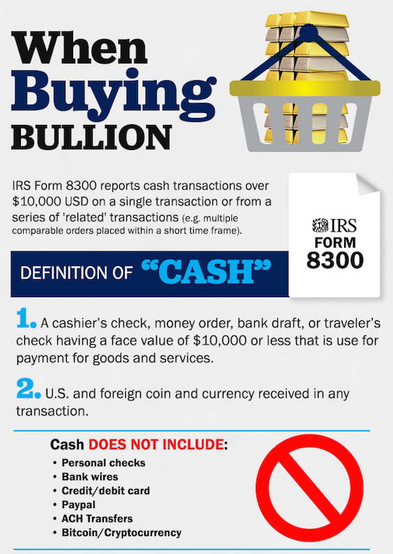 IRS Cash Reporting Gold Silver Bullion Buying SD Bullion SDBullion.com