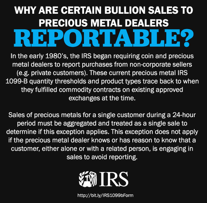 Why are some Bullion sales to Bullion Dealers reportable to the IRS while others are not CFTC SD Bullion SDBullion.com/reporting