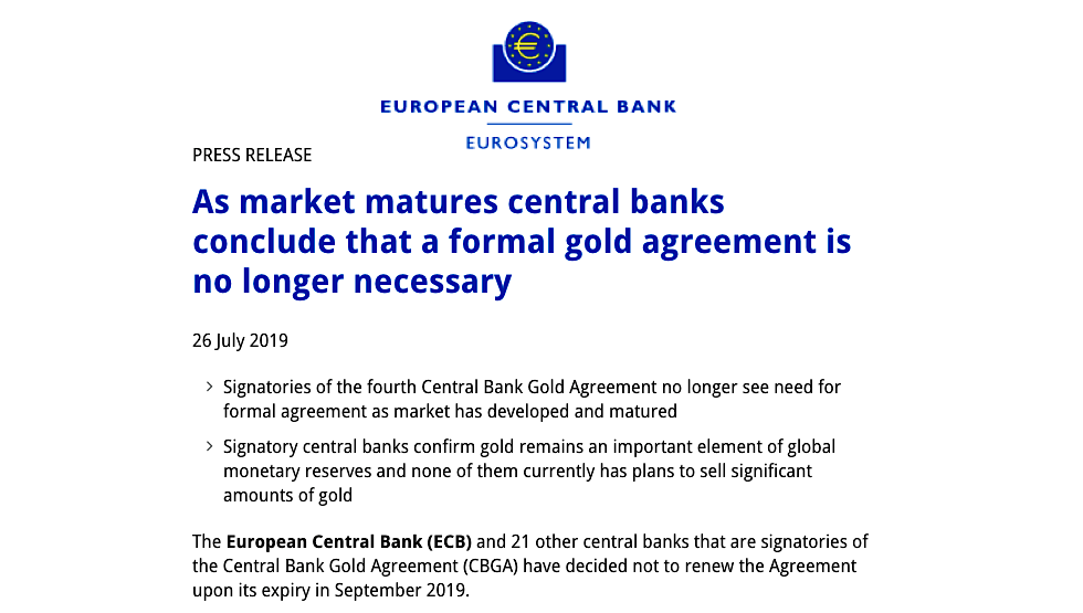Central Bank Gold Agreement No Longer Necessary in Europe