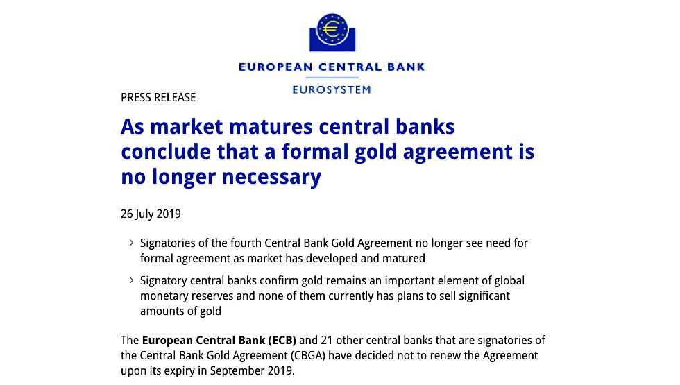 European Gold Agreement, ECB Gold, bank gold, European Central Bank Gold Agreement,